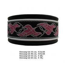 Halsband roze, wit, zwart, blad, galgo, windhond