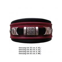 halsband, metalen, stoer, ijzers, ornamenten, rood, zwart