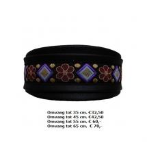 lederen halsband, zwart leder, bloemen en ruit kleurig