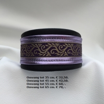 Metallic halsband, paars, lila, zwart, showhalsband