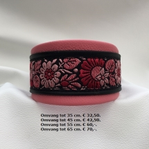 halsband met bloem, lederen, fleurige band