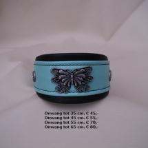 halsband, vlinder, blauw, leder